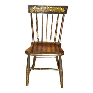 Pre-Civil War Hand Painted Maple Hitchcock Chair For Sale