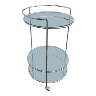 Contemporary Chrome Bar Cart For Sale