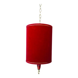 Mid-Century Modern Red Velveteen Drum Shade Swag For Sale