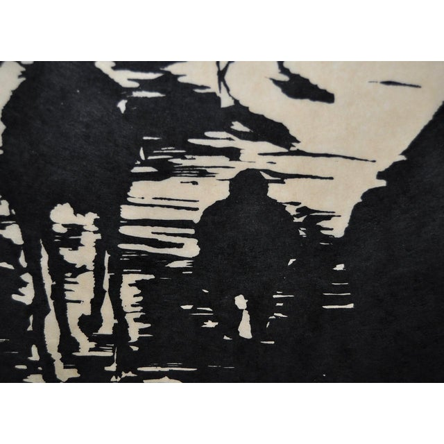 """Mid 20th Century Mid Century """"Don Quixote at the Paseo"""" Woodcut by Michael Christiana C.1961 For Sale - Image 5 of 11"""