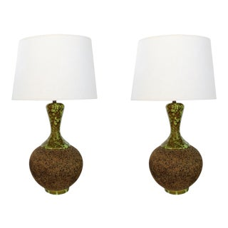1960's American Cork Lamps With Mottled Olive-Green Ceramic Mounts - a Pair For Sale