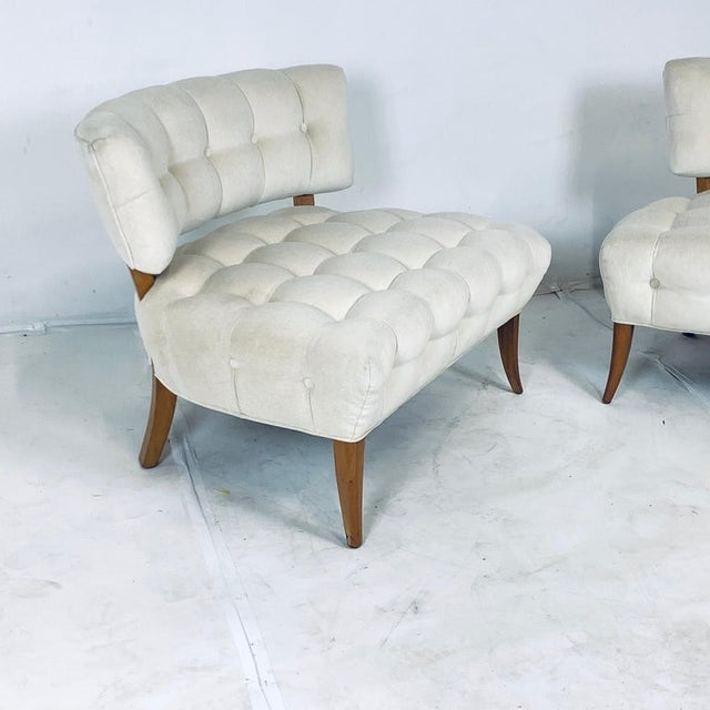 """Wiliam """"Billy"""" Haines Large Scale Regency Tufted Klismos Lounge Slipper Chairs - a Pair For Sale - Image 11 of 13"""