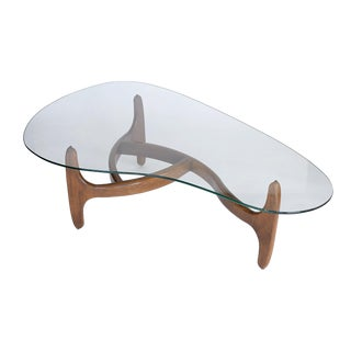 Mid Century Adrian Pearsall Craft Associates Kidney Shaped Glass Coffee Table For Sale