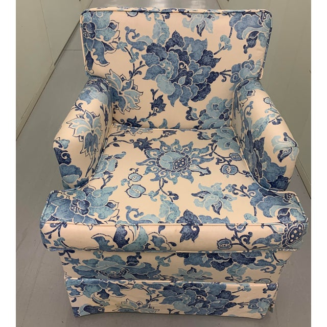 Blue and off white printed cotton upholstered armchair. As found blue and off white printed cotton fabric.