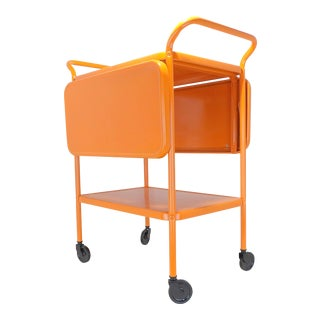 Mid-Century Modern Orange Rolling Bar Cart