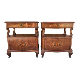 20th Century Pair of Catalan, Spanish Nightstands With Drawers & Low Open Shelf For Sale