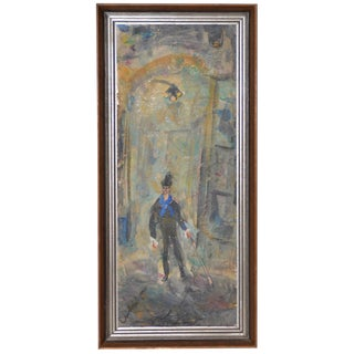 "Pascal Cucaro ""Man With Cane"" Oil Painting C.1960s For Sale"