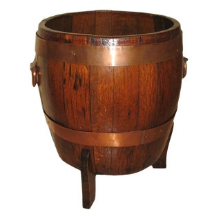 Early 19th Century Copper Banded Oak Barrel For Sale