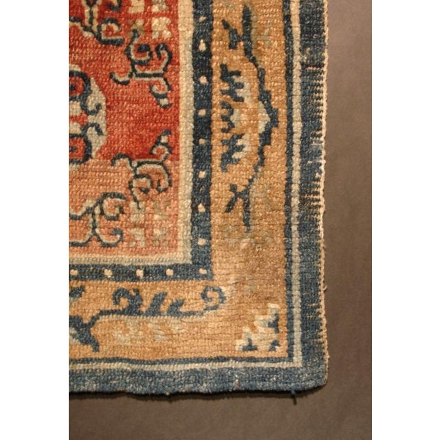 Tibetan Square Meditation Rug, mid 19th century For Sale - Image 4 of 4