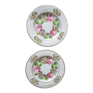 Early 19th Century Antique English Hand Painted Floral Roses Plates - a Pair For Sale