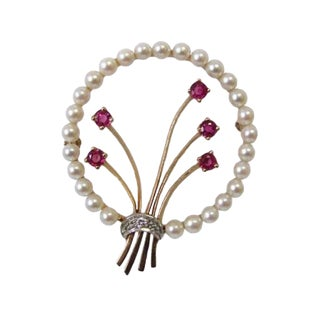 Vintage 14k Gold Platinum Ruby and Pearl Bow Brooch For Sale