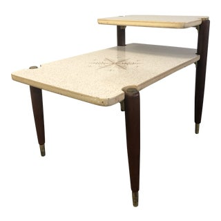Vintage Mid Century Modern White Step Table With Gold Starburst Accent For Sale