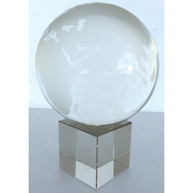 Etched Crystal Globe on Stand - Image 5 of 8