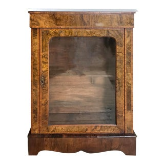 19th Century English Inlaid Burlwood Marble Top Curio Cabinet For Sale