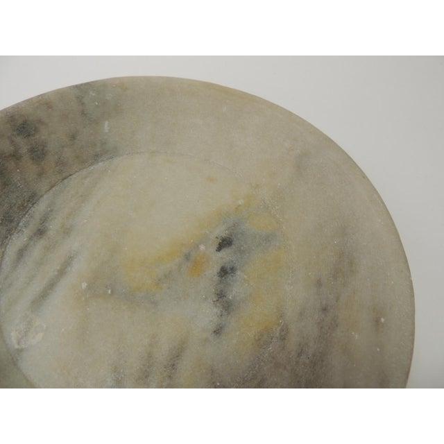 Asian Vintage Asian Hand Carved Alabaster Round Decorative Serving Bowl For Sale - Image 3 of 5
