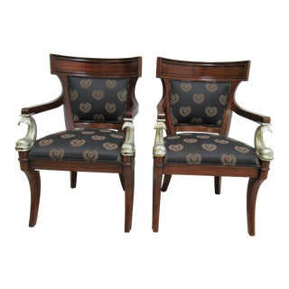 1980s Vintage Drexel Heritage Klismos Neo Classical Dining Arm Chairs- A Pair For Sale