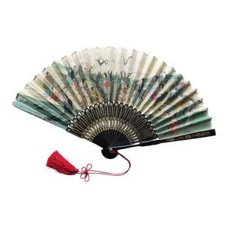 1980s Vintage Japanese Folding Fan For Sale