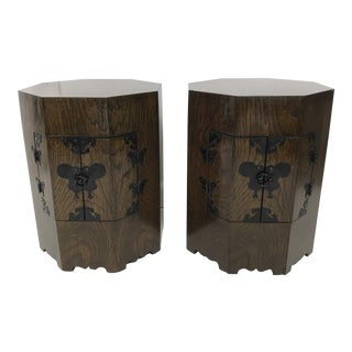 "Vintage Chinese ""Calligraphy"" Hexagonal Wood Storage Cabinets, Bedside Tables, Pedestals - a Pair For Sale"