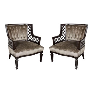 Pair of Mid-Century Modernist Lattice Design Occasional Chairs For Sale