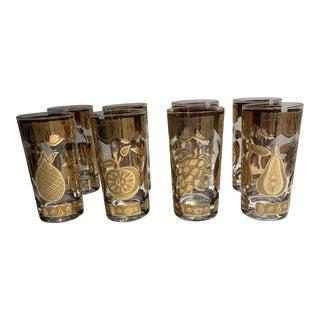 Culver 22kt Gold Glasses With Florentine Design - Set of 8 For Sale