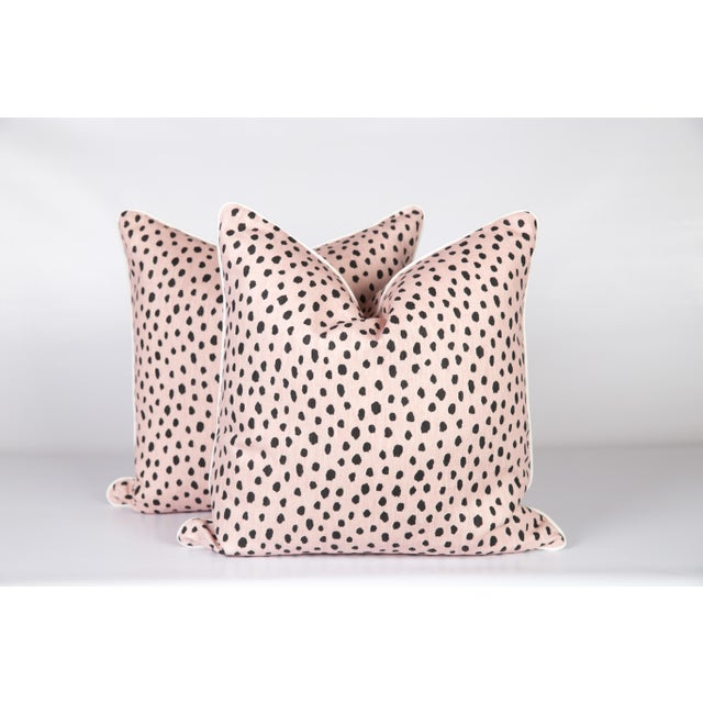 Blush Tanzania Linen Spotted Pillows - A Pair For Sale - Image 4 of 4