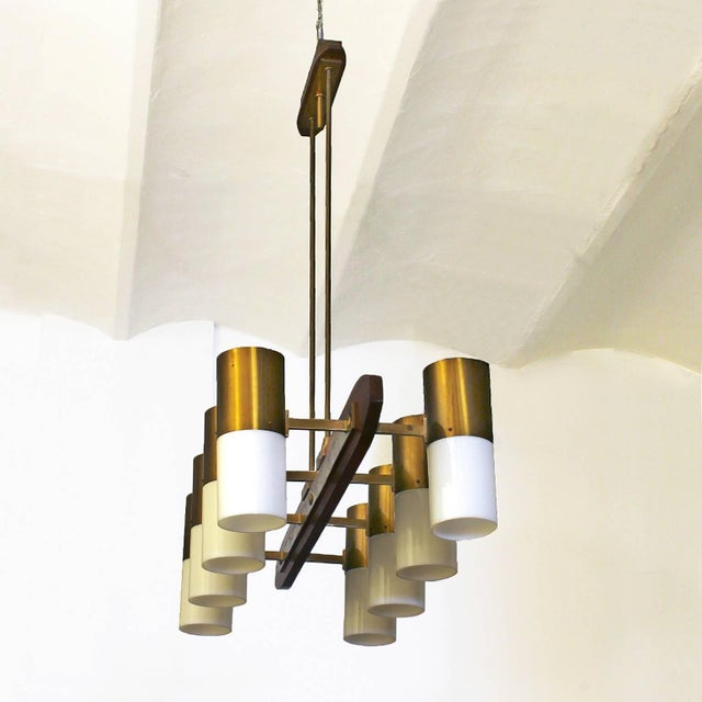 Mid-Century Modern 1960´s Chandelier 8 lights, solid teak, brass and plexiglass - Italy For Sale - Image 3 of 7