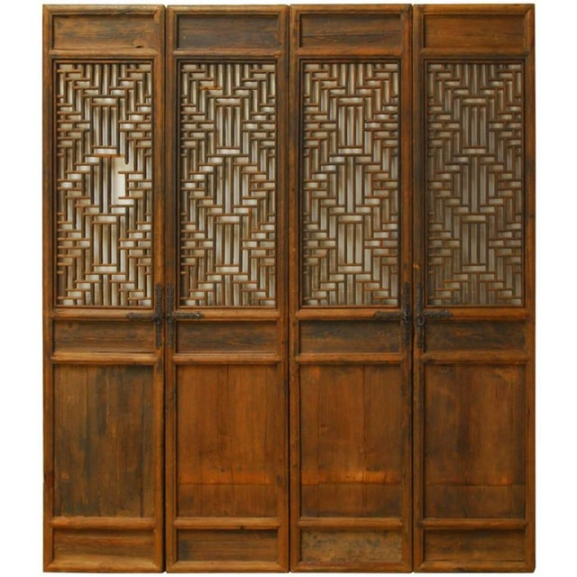 Chinese Lattice Panel Doors - Set of 4 For Sale