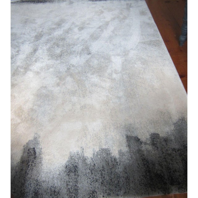 8x10 handwoven wild silk carpet from Fort Street Studio. Cream, taupe and grey flecks with charcoal edge. Excellent...