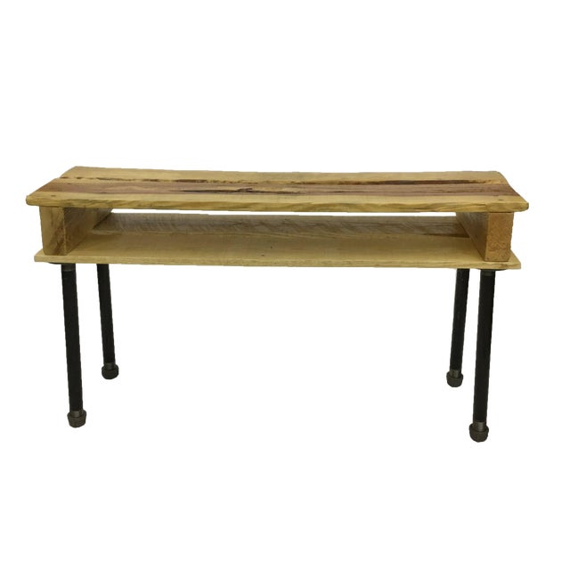 Pallet Wood Hand Finished Narrow Hallway Bench For Sale