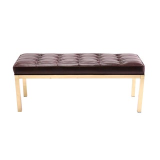 1970s Vintage Patinated Brass and Leather Bench For Sale