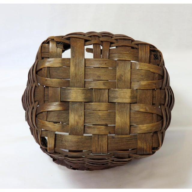 Late 19th Century Antique American Handwoven Splint Basket For Sale In Boston - Image 6 of 7