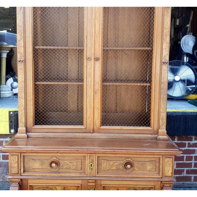 Antique 19th Century Palatial Size Burl Walnut Eastlake Victorian Butler's Secretary Desk C1860 For Sale - Image 12 of 13