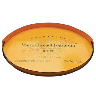 Vintage Handmade Veuve Clicquot Champagne Label Ovular Tole Tray For Sale