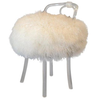 Mid-Century Modern Swivel Fur Lucite Stool, Vanity Chair, Boudoir Stool For Sale
