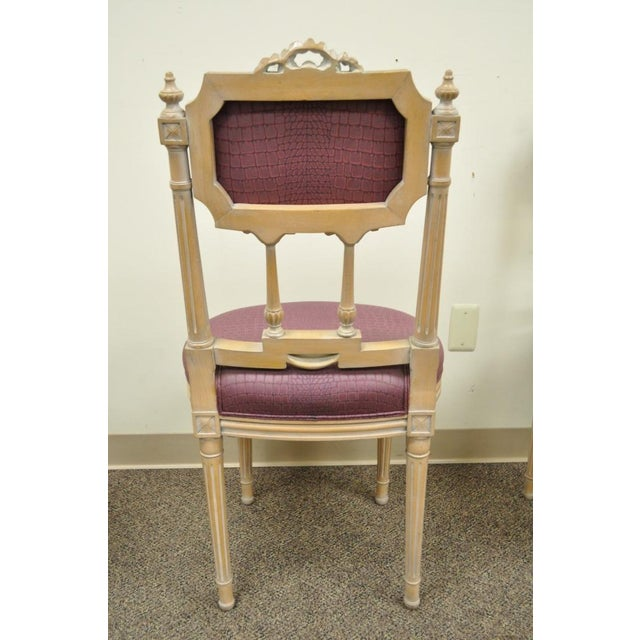 Vintage French Louis XVI Style Drape & Bow Carved Painted Dining Chairs - Set of 4 - Image 8 of 11