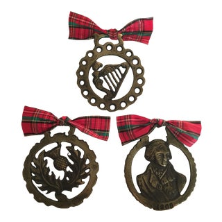 Vintage Horse Brass Christmas Holiday Ornaments - Set of 3 For Sale