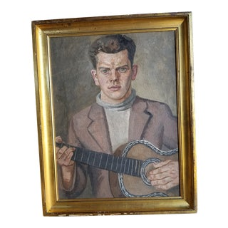 Mid Century Guitarist Portrait For Sale