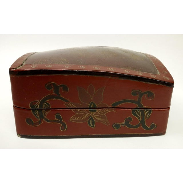 Large Chinese Red Lacquered Porcelain Lidded Box - Image 3 of 11