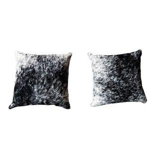 Black and White Cowhide Pillows - A Pair