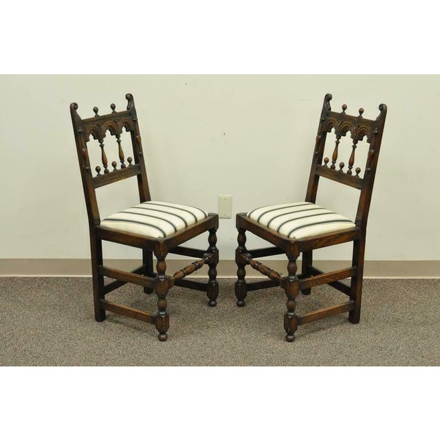 1930s Vintage Carved Oak Wood Jacobean Gothic Style Dining Room Chairs- Set  of 8