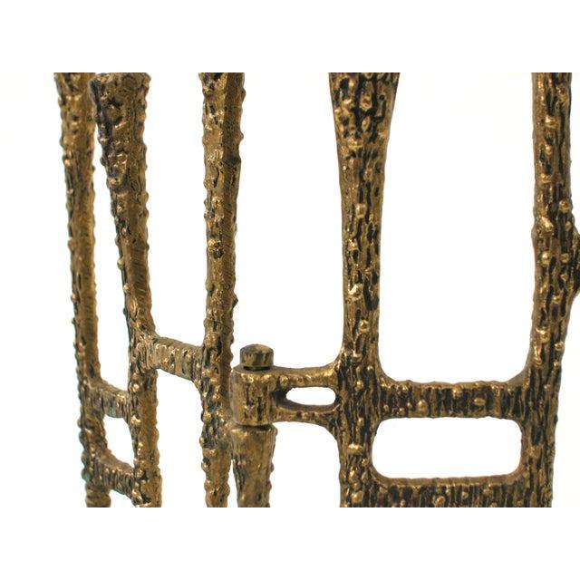 Brutalist Brass Trifold Menorah - Image 6 of 8
