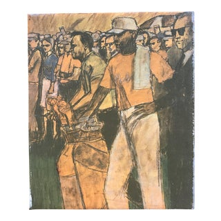 "Original Mid-Century Modern Painting ""Us Open 1960"""