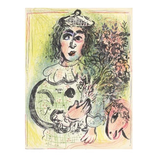 """Marc Chagall Clown With Flowers 12.5"""" X 9.5"""" Lithograph 1963 Modernism Multicolor For Sale"""