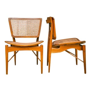 Finn Juhl Walnut & Cane Chairs - a Pair