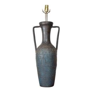 Midcentury Rimini Blue, Aldo Londi Bitossi, Ceramic Table Lamp, 1950s For Sale