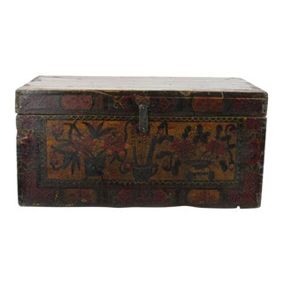 Hand Painted Antique Asian Gansu Trunk