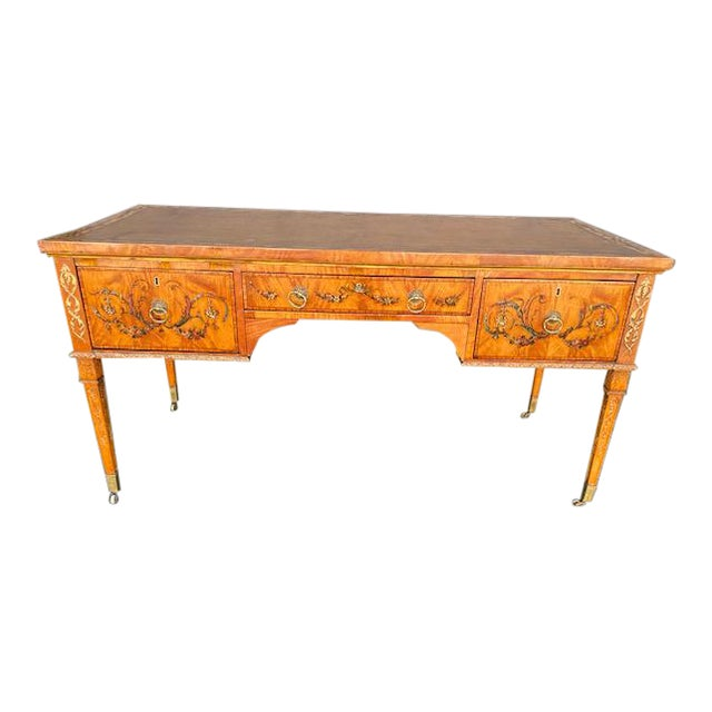 Fine Early 19th C. English Painted Satonwood Desk With Leather Top For Sale