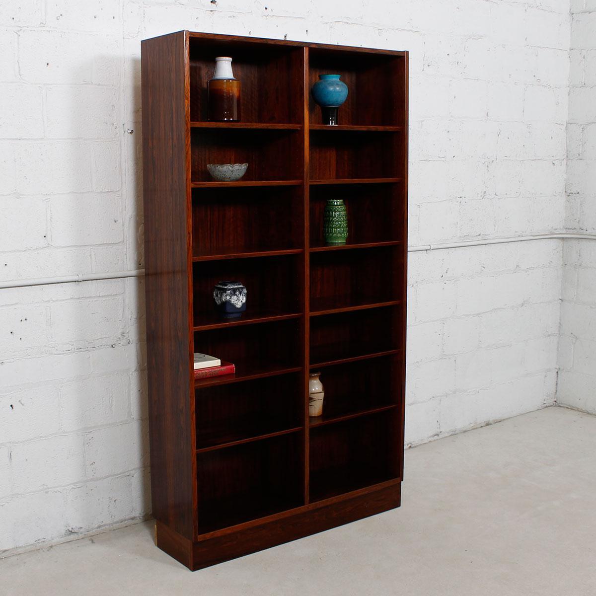 Rosewood Danish Modern Rosewood Adjustable Shelves Bookcase For Sale    Image 7 Of 7