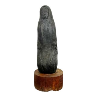 Mid Century Modern Porous Stone Table Sculpture Abstracted Figure on Wood Base For Sale