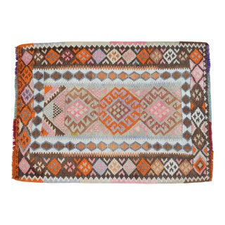 Cheerful Colors Turkish Kilim Flat Weave Muted Color Rug For Sale